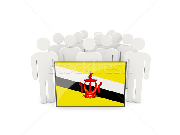 Mensen vlag Brunei geïsoleerd witte menigte Stockfoto © MikhailMishchenko