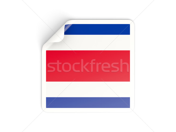 Cuadrados etiqueta bandera Costa Rica aislado blanco Foto stock © MikhailMishchenko