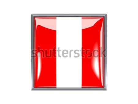 Tér matrica zászló Peru izolált fehér Stock fotó © MikhailMishchenko