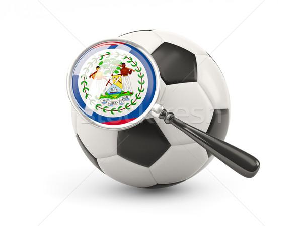 Futball nagyított zászló Belize izolált fehér Stock fotó © MikhailMishchenko