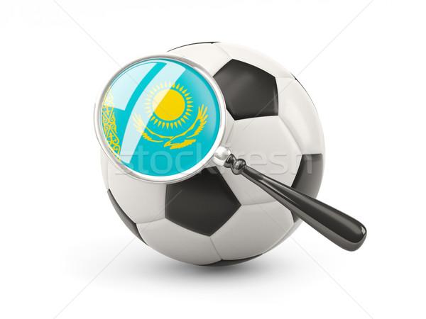 Fußball vergrößert Flagge Kasachstan isoliert weiß Stock foto © MikhailMishchenko