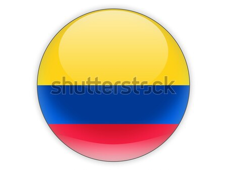 Icon vlag Colombia geïsoleerd witte reizen Stockfoto © MikhailMishchenko