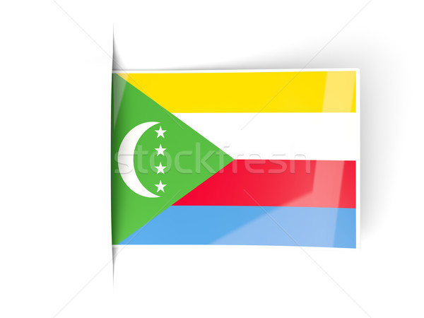Square label with flag of comoros Stock photo © MikhailMishchenko
