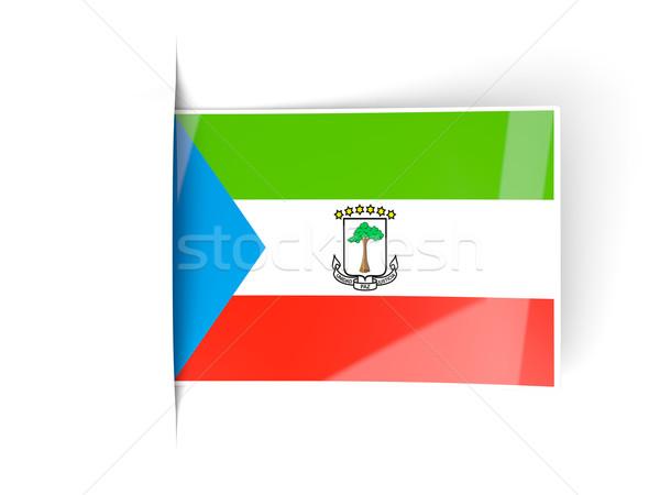Vierkante label vlag Equatoriaal-Guinea geïsoleerd witte Stockfoto © MikhailMishchenko