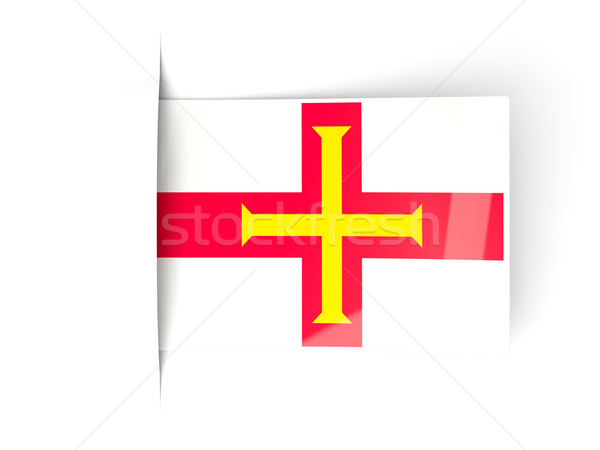Square label with flag of guernsey Stock photo © MikhailMishchenko