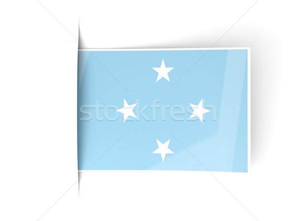 Piazza etichetta bandiera Micronesia isolato bianco Foto d'archivio © MikhailMishchenko