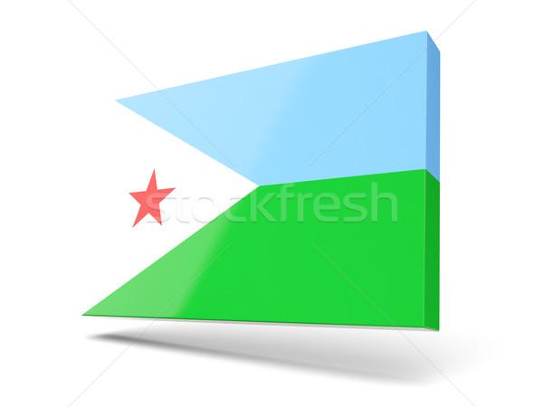 Placu ikona banderą Dżibuti odizolowany biały Zdjęcia stock © MikhailMishchenko