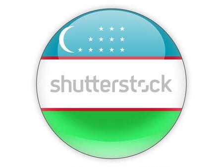 Ikon zászló Üzbegisztán izolált fehér utazás Stock fotó © MikhailMishchenko