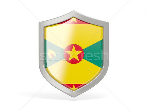 Pajzs ikon zászló Grenada izolált fehér Stock fotó © MikhailMishchenko