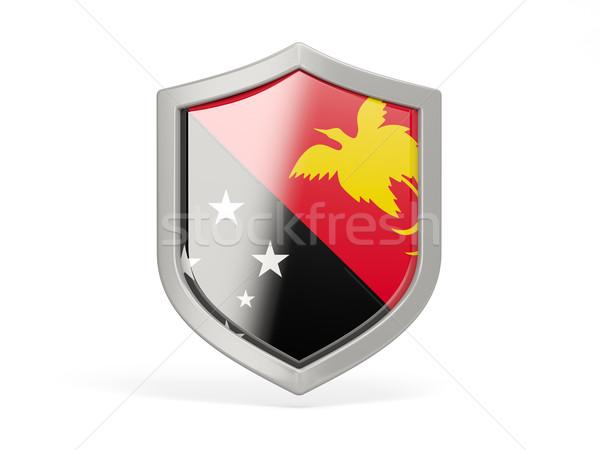 щит икона флаг Папуа-Новая Гвинея изолированный белый Сток-фото © MikhailMishchenko