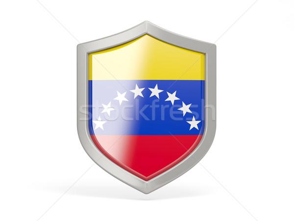 Pajzs ikon zászló Venezuela izolált fehér Stock fotó © MikhailMishchenko