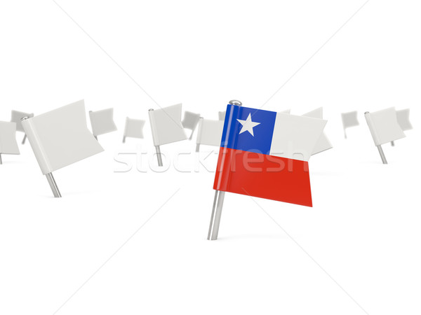 Square pin with flag of chile Stock photo © MikhailMishchenko