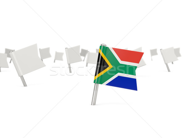 Square pin with flag of south africa Stock photo © MikhailMishchenko