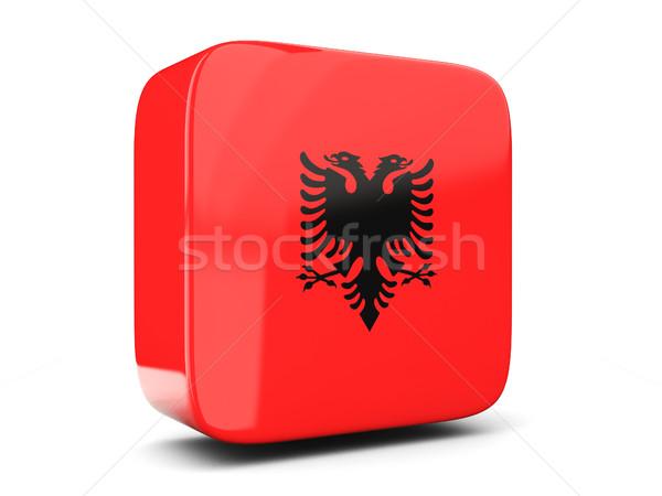 Cuadrados icono bandera Albania 3d aislado Foto stock © MikhailMishchenko