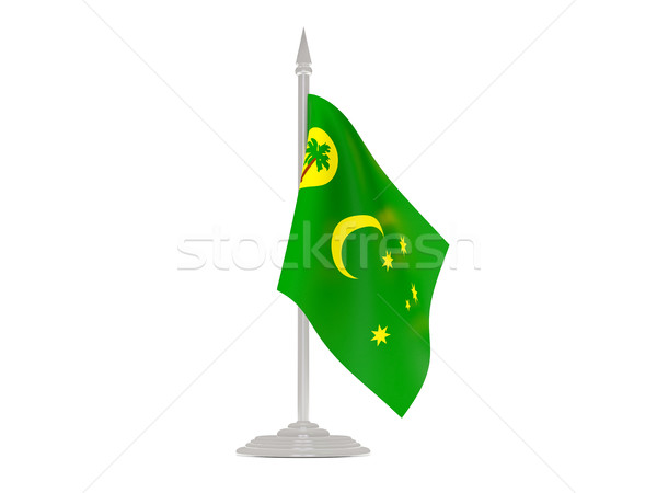 Flag of cocos islands with flagpole. 3d render Stock photo © MikhailMishchenko