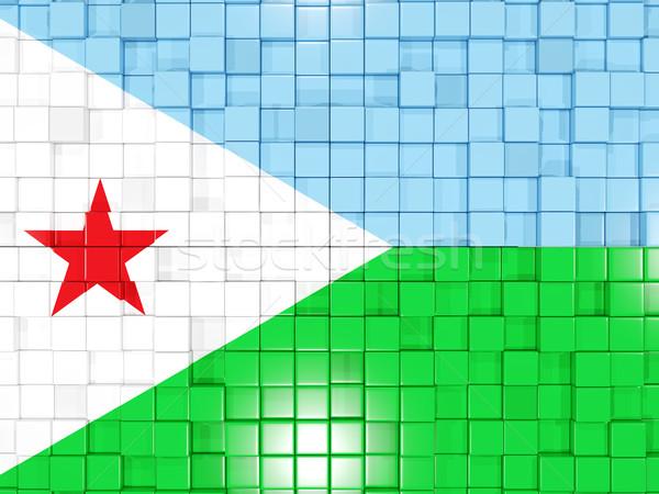 Placu banderą Dżibuti 3d ilustracji mozaiki Zdjęcia stock © MikhailMishchenko