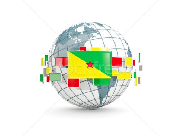 Globe with flag of french guiana isolated on white Stock photo © MikhailMishchenko