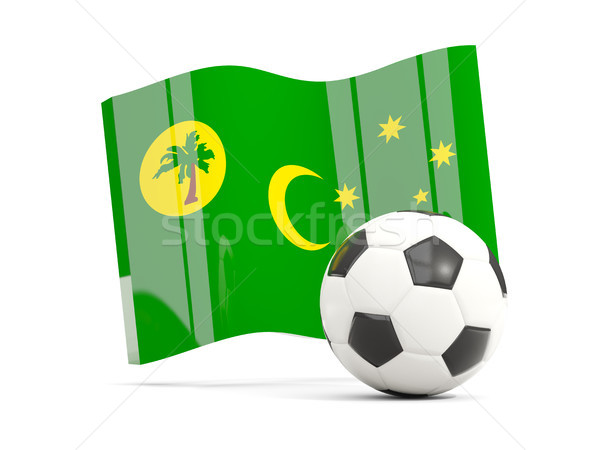 Football with waving flag of cocos islands isolated on white Stock photo © MikhailMishchenko