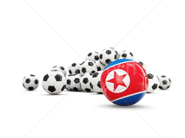 Football with flag of korea north isolated on white Stock photo © MikhailMishchenko