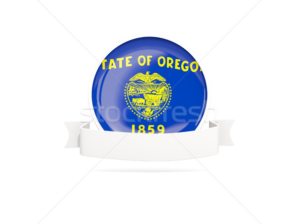 Stock photo: Flag of oregon with banner, US state round icon