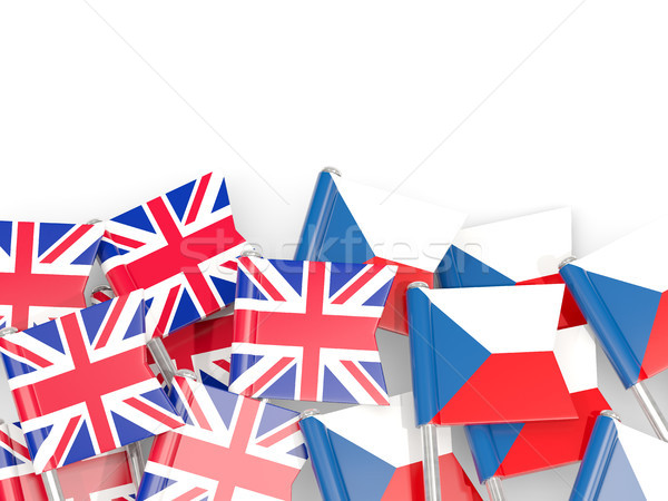 Flag pins of United Kingdom and Czech isolated on white Stock photo © MikhailMishchenko