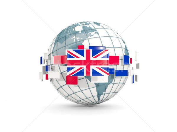 Globe with flag of united kingdom isolated on white Stock photo © MikhailMishchenko
