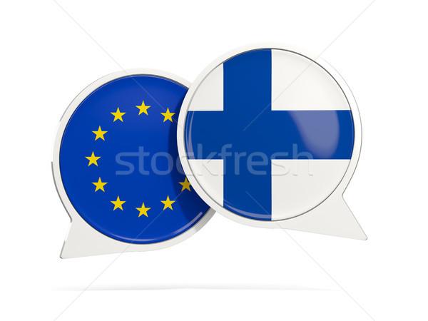 Chat pęcherzyki eu Finlandia odizolowany biały Zdjęcia stock © MikhailMishchenko
