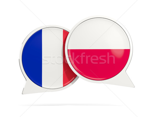 Chat bubbles of France and Poland isolated on white Stock photo © MikhailMishchenko
