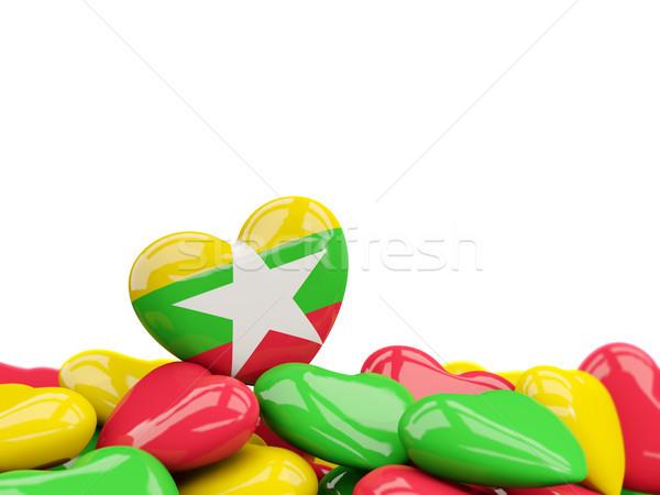 сердце флаг Мьянма Top сердцах изолированный Сток-фото © MikhailMishchenko