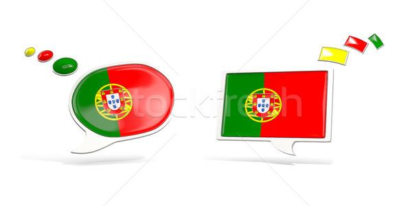Iki sohbet simgeler bayrak Portekiz kare Stok fotoğraf © MikhailMishchenko