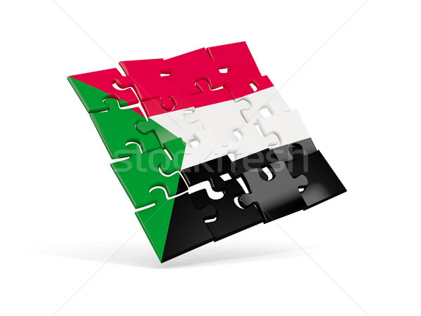 Puzzle flag of sudan isolated on white Stock photo © MikhailMishchenko