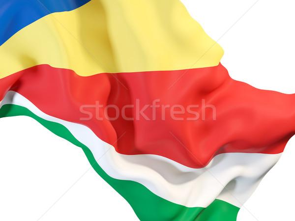 Integet zászló Seychelle-szigetek közelkép 3d illusztráció utazás Stock fotó © MikhailMishchenko