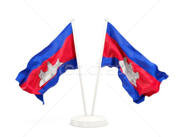Twee vlaggen Cambodja geïsoleerd witte Stockfoto © MikhailMishchenko