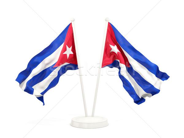 два флагами Куба изолированный белый Сток-фото © MikhailMishchenko