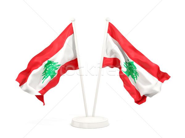 Kettő integet zászlók Libanon izolált fehér Stock fotó © MikhailMishchenko