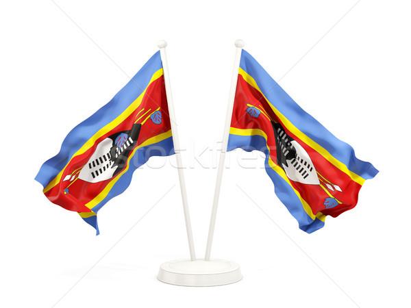 Twee vlaggen Swaziland geïsoleerd witte Stockfoto © MikhailMishchenko