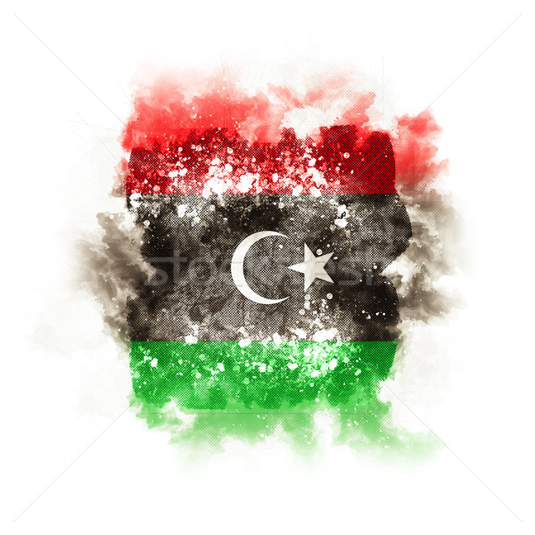 Placu grunge banderą Libia 3d ilustracji retro Zdjęcia stock © MikhailMishchenko