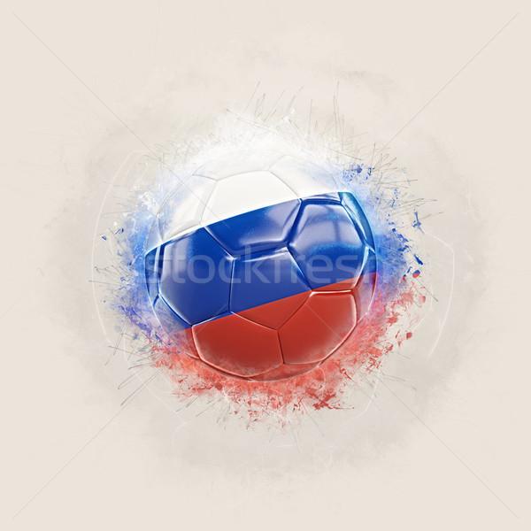 Grunge football with flag of russia Stock photo © MikhailMishchenko