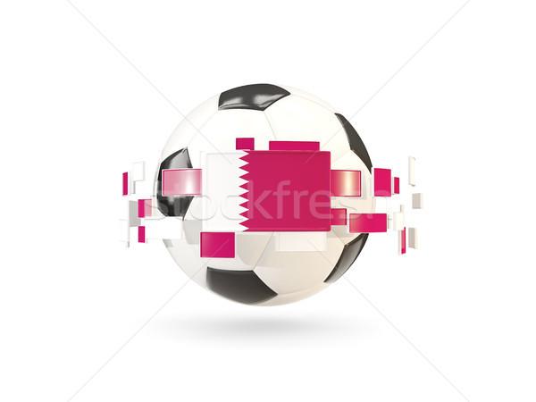 Futbol topu hat bayraklar bayrak Katar Stok fotoğraf © MikhailMishchenko