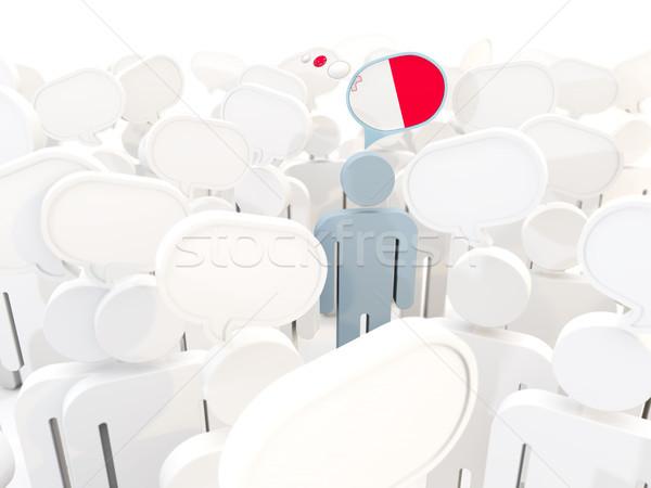 Człowiek banderą Malta tłum 3d ilustracji podpisania Zdjęcia stock © MikhailMishchenko