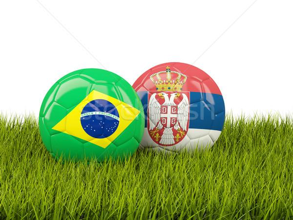Brezilya vs Sırbistan futbol bayraklar yeşil Stok fotoğraf © MikhailMishchenko