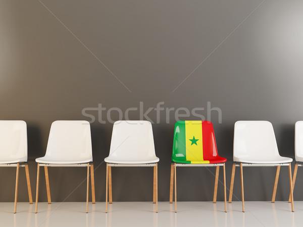 Szék zászló Szenegál csetepaté fehér székek Stock fotó © MikhailMishchenko