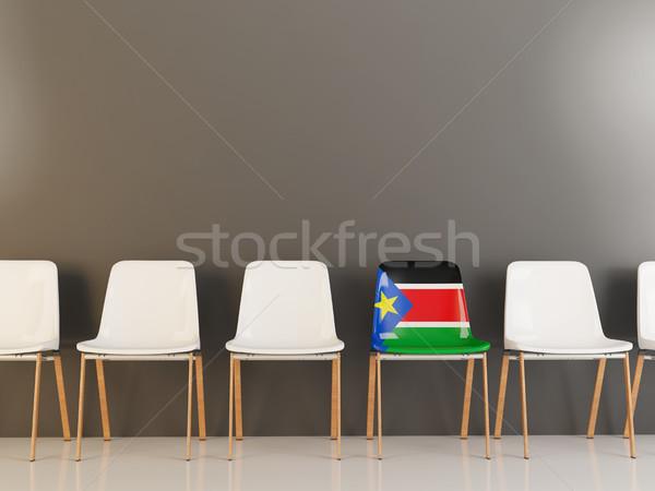 Szék zászló dél Szudán csetepaté fehér Stock fotó © MikhailMishchenko