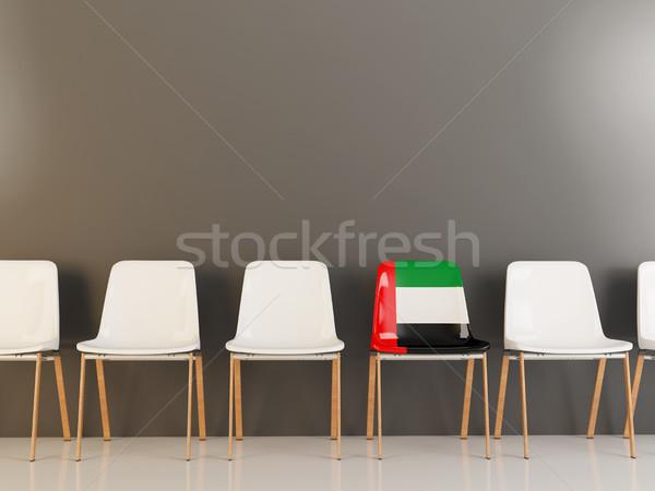 Szék zászló Egyesült Arab Emírségek csetepaté fehér székek Stock fotó © MikhailMishchenko