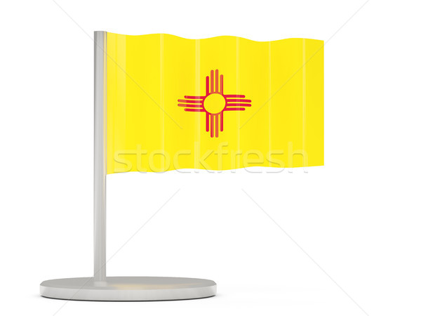 Flag pin with flag of new mexico. United states local flags Stock photo © MikhailMishchenko