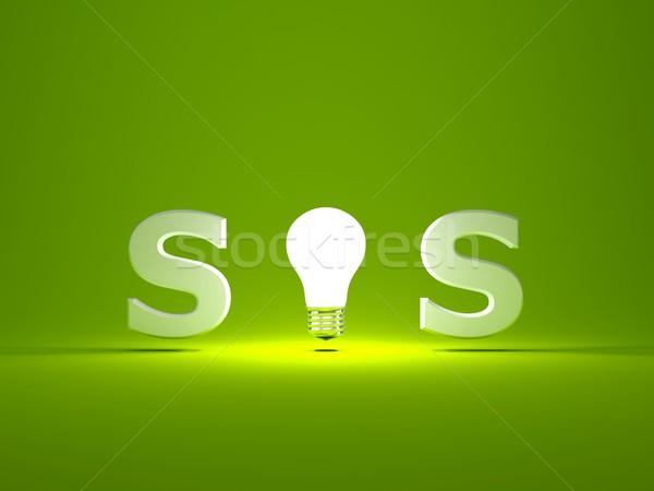 Sos teken gloeilamp glas groene helpen Stockfoto © MikhailMishchenko
