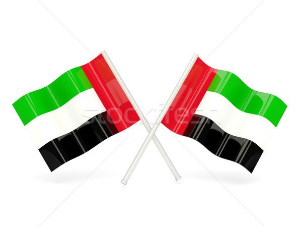 Zászló Egyesült Arab Emírségek kettő hullámos zászlók izolált Stock fotó © MikhailMishchenko