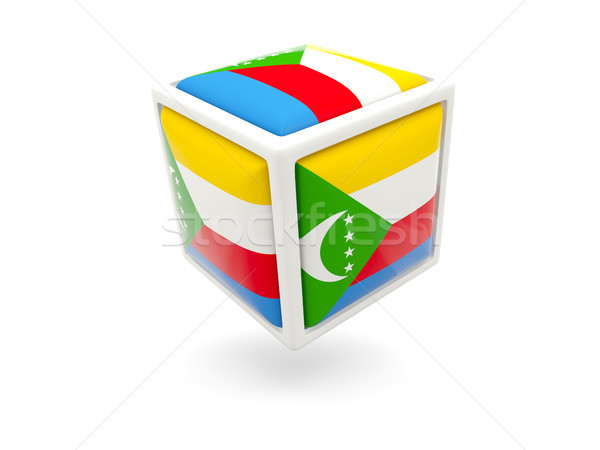 Flag of comoros. Cube icon Stock photo © MikhailMishchenko