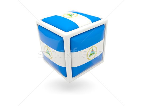 Bandeira Nicarágua cubo ícone isolado branco Foto stock © MikhailMishchenko