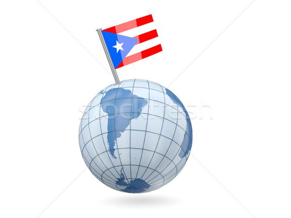 Wereldbol vlag Puerto Rico Blauw geïsoleerd witte Stockfoto © MikhailMishchenko